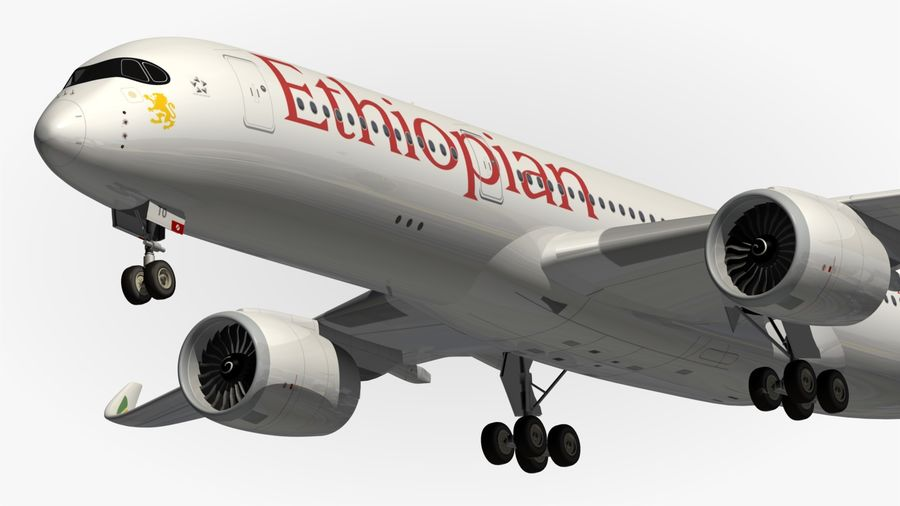 Airbus A350 Ethiopian royalty-free 3d model - Preview no. 2