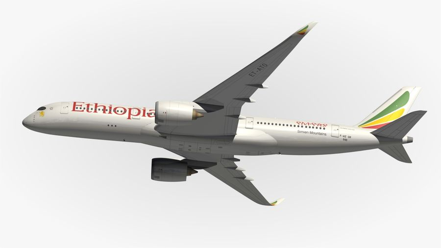 Airbus A350 Ethiopian royalty-free 3d model - Preview no. 6