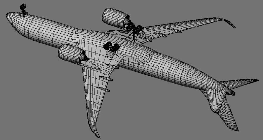 Airbus A350 Ethiopian royalty-free 3d model - Preview no. 16