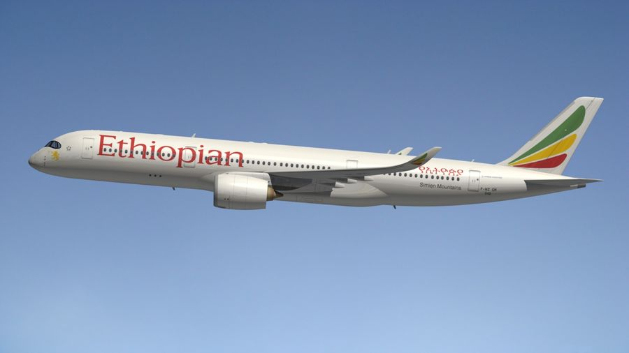 Airbus A350 Ethiopian royalty-free 3d model - Preview no. 4