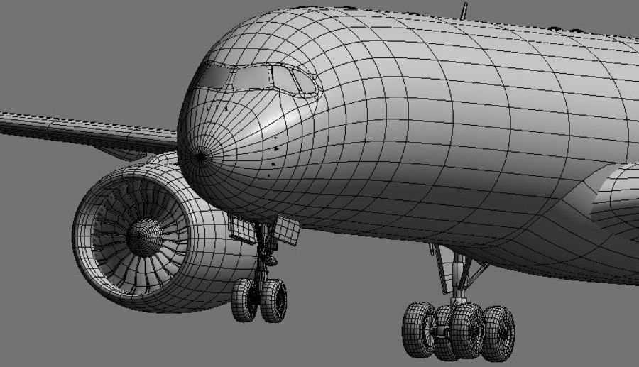 Airbus A350 Ethiopian royalty-free 3d model - Preview no. 17