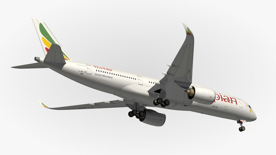 Airbus A350 Ethiopian royalty-free 3d model - Preview no. 14