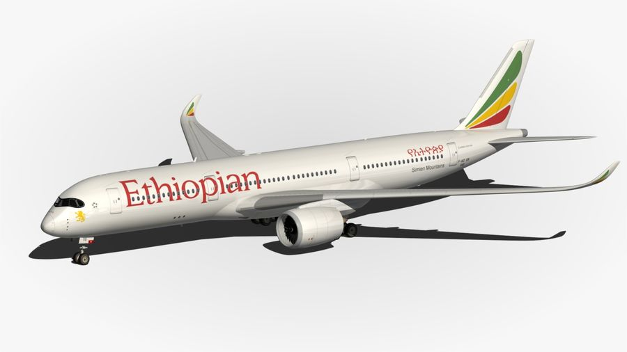 Airbus A350 Ethiopian royalty-free 3d model - Preview no. 11