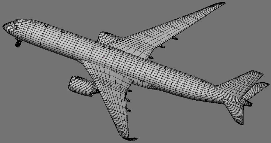 Airbus A350 Ethiopian royalty-free 3d model - Preview no. 15