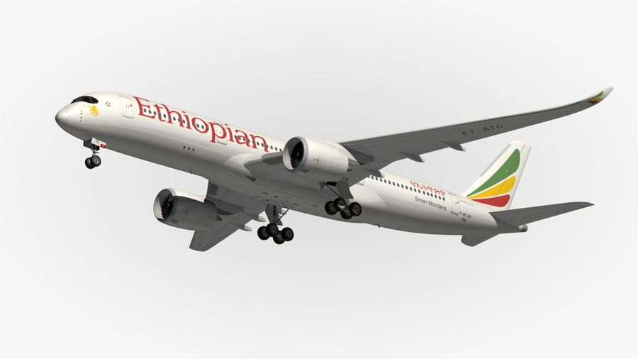 Airbus A350 Ethiopian royalty-free 3d model - Preview no. 12