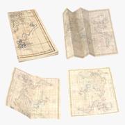 Retro Map Set 01 3d model