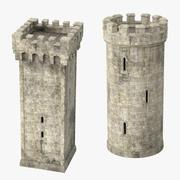 Rond torentje en vierkant torentje 3d model