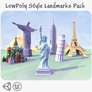 LowPoly Style Landmarks Pack 3d model