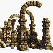 Ruinas de la antigua muralla y arco modelo 3d