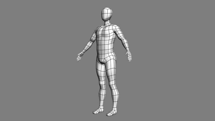 男性ベースメッシュ royalty-free 3d model - Preview no. 3