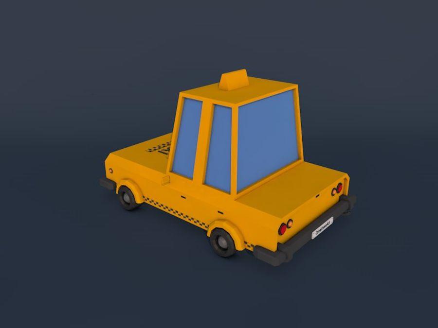 低ポリタクシー車2 royalty-free 3d model - Preview no. 3