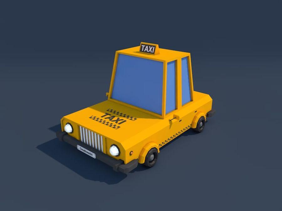 低ポリタクシー車2 royalty-free 3d model - Preview no. 1