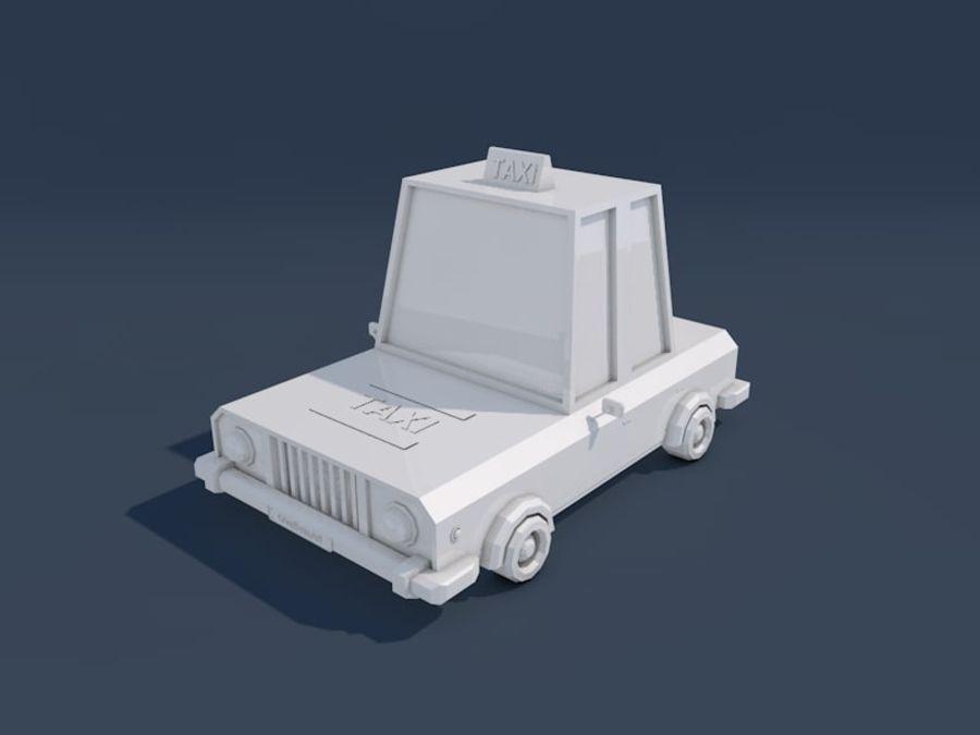 低ポリタクシー車2 royalty-free 3d model - Preview no. 9