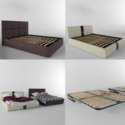 Moderna sängar och tyg 3d model