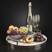 Champagne & frukt 3d model