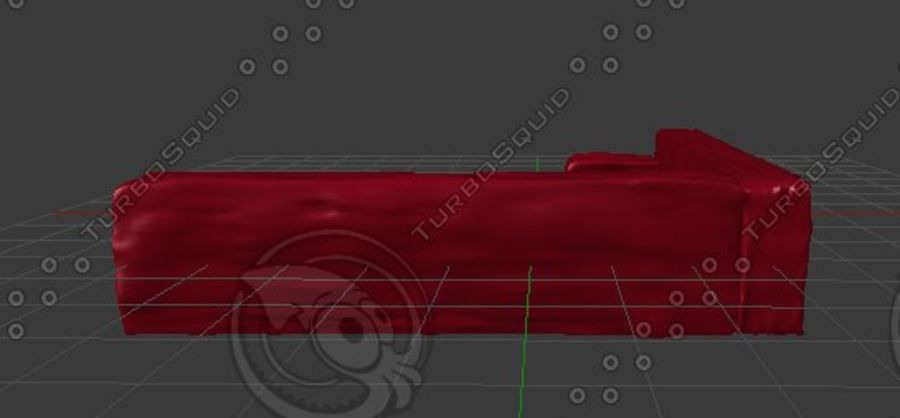 Red Sofa (Arch Viz) royalty-free 3d model - Preview no. 5