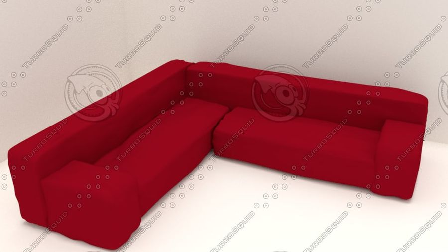Red Sofa (Arch Viz) royalty-free 3d model - Preview no. 1
