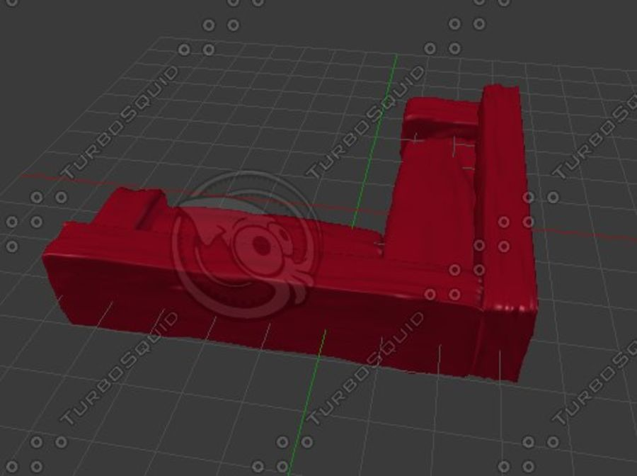 Red Sofa (Arch Viz) royalty-free 3d model - Preview no. 3