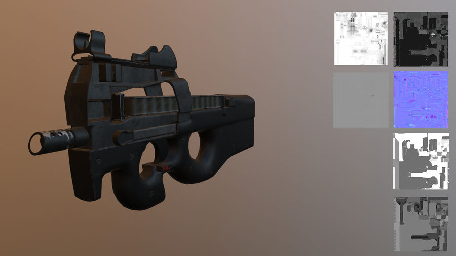 FN P90 royalty-free 3d model - Preview no. 1