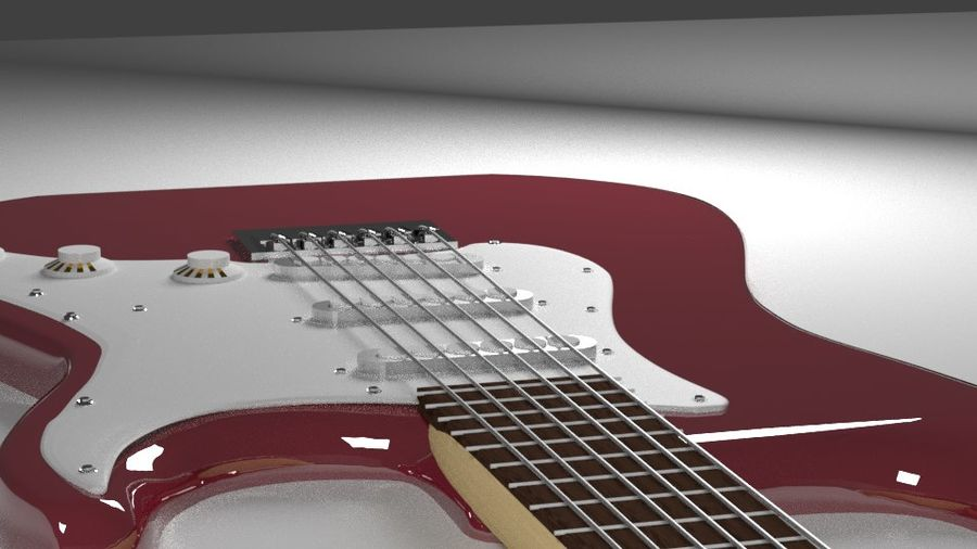 Red Stratocaster Electric Guitar royalty-free 3d model - Preview no. 3