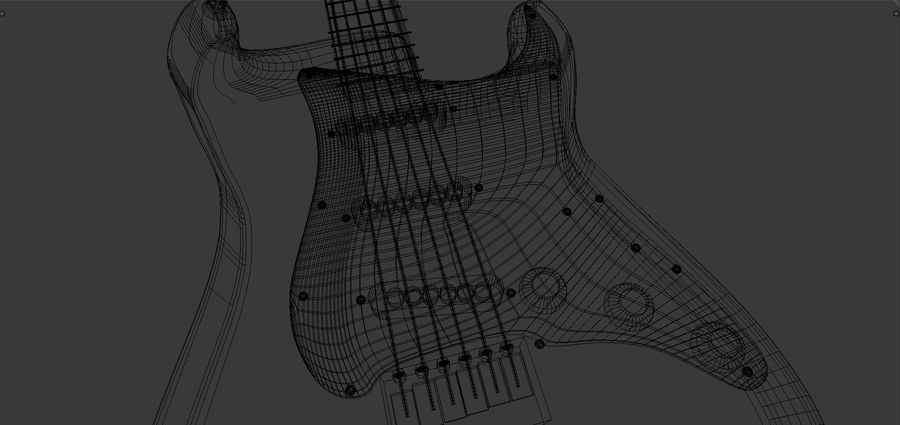 Red Stratocaster Electric Guitar royalty-free 3d model - Preview no. 10