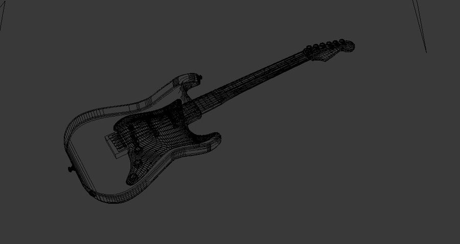 Red Stratocaster Electric Guitar royalty-free 3d model - Preview no. 6
