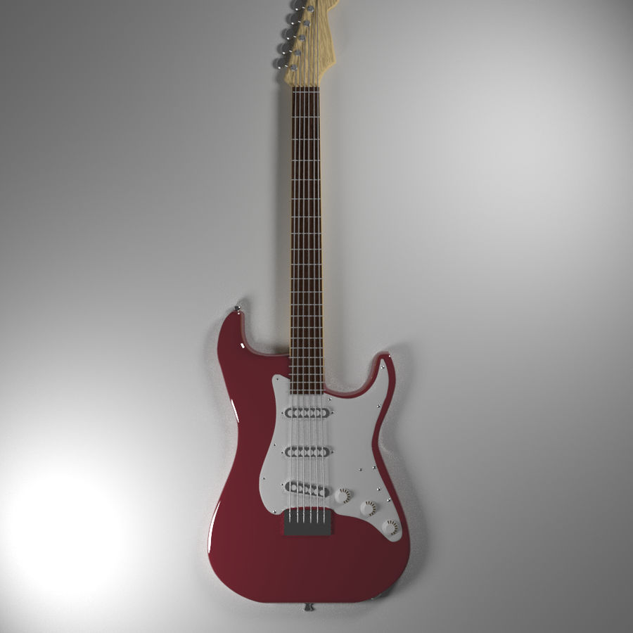 Red Stratocaster Electric Guitar royalty-free 3d model - Preview no. 4