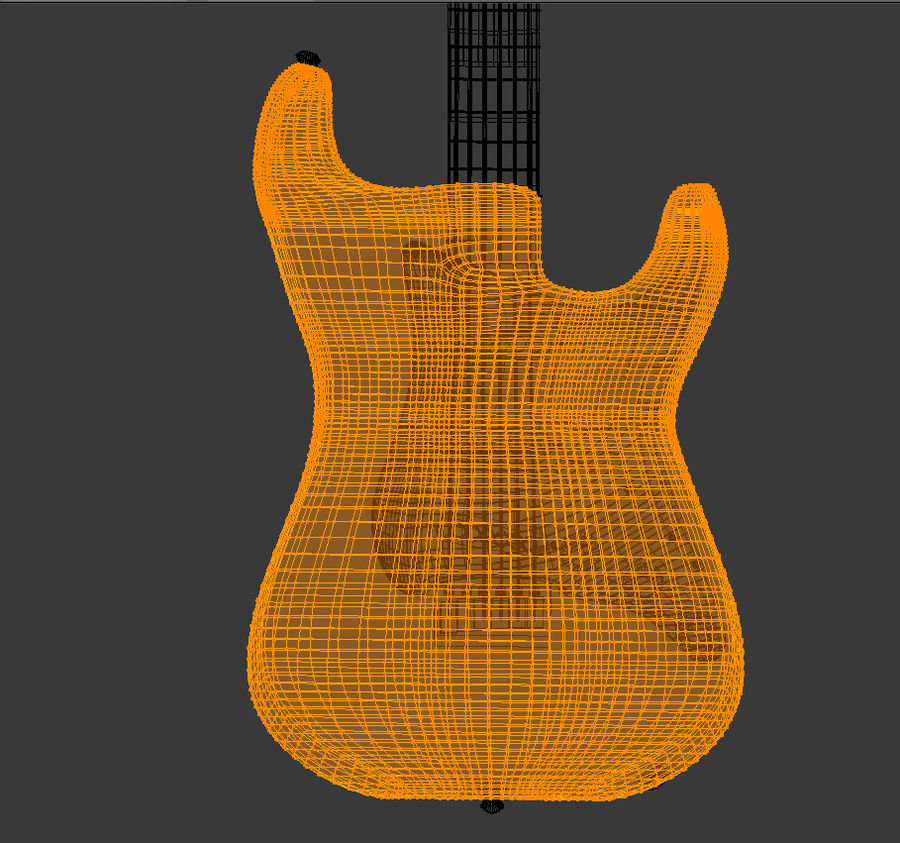 Gitara elektryczna Red Stratocaster royalty-free 3d model - Preview no. 8