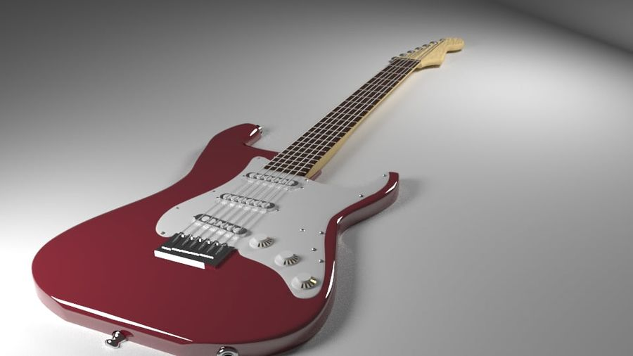 Red Stratocaster Electric Guitar royalty-free 3d model - Preview no. 1