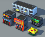 Set of Small Stores - low poly 3d model