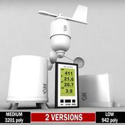 Pack de set de stations météo sans fil Low Poly 3d model