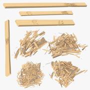 Coleção de adereços de madeira 3d model