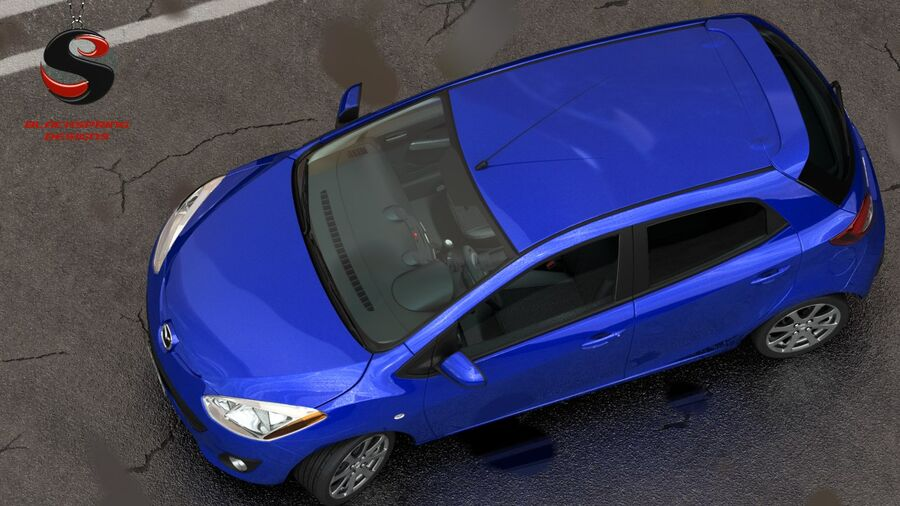 Mazda 2 2010 royalty-free 3d model - Preview no. 7
