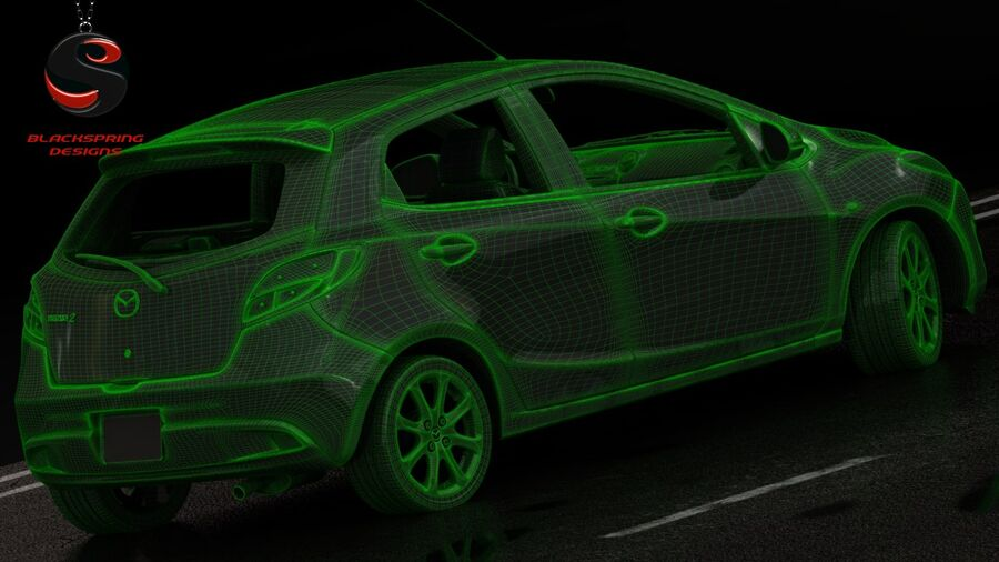 Mazda 2 2010 royalty-free 3d model - Preview no. 9