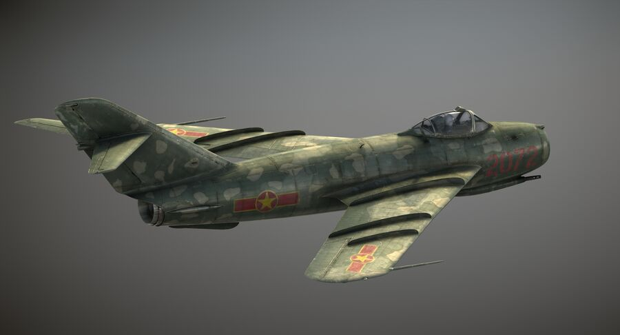 MiG-17F royalty-free 3d model - Preview no. 4