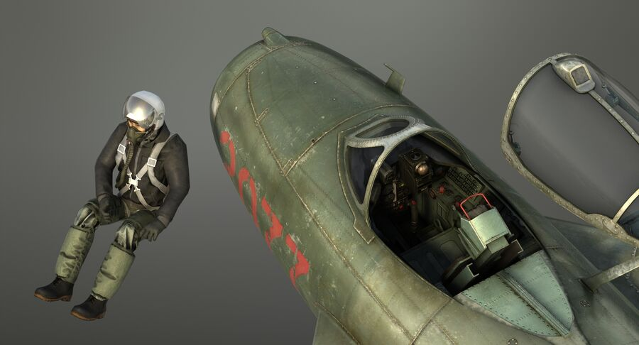 MiG-17F royalty-free 3d model - Preview no. 30