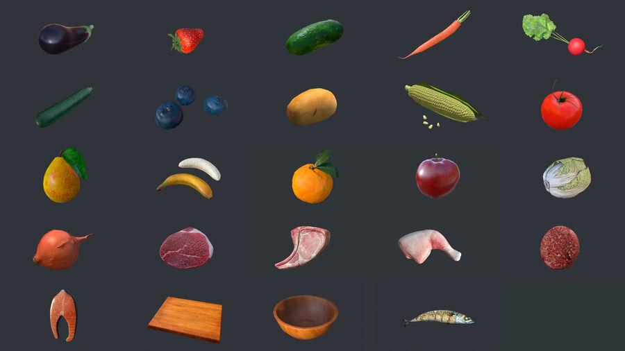 Cibo: frutta e verdura royalty-free 3d model - Preview no. 1