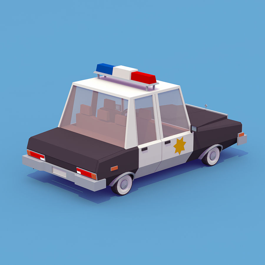 Politieauto royalty-free 3d model - Preview no. 2