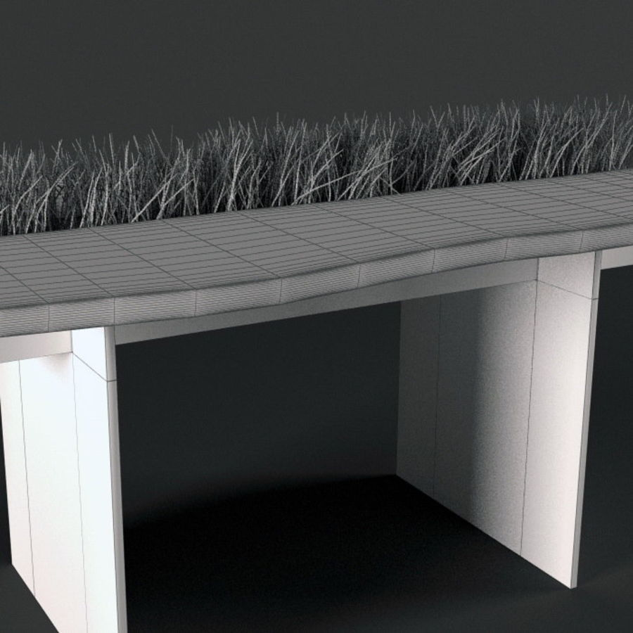 Table avec de l'herbe plantée royalty-free 3d model - Preview no. 4