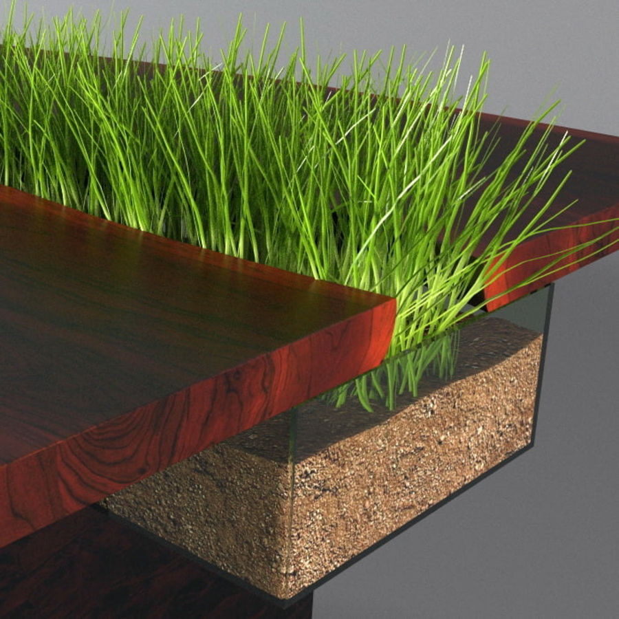 Table avec de l'herbe plantée royalty-free 3d model - Preview no. 5