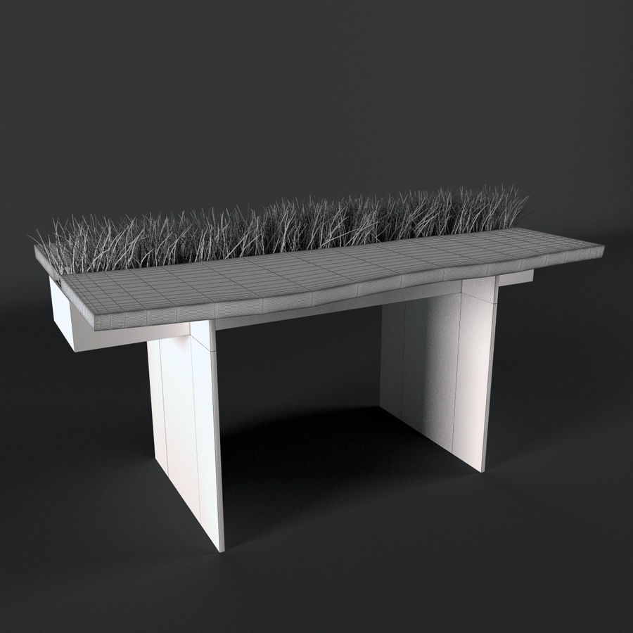 Table avec de l'herbe plantée royalty-free 3d model - Preview no. 3
