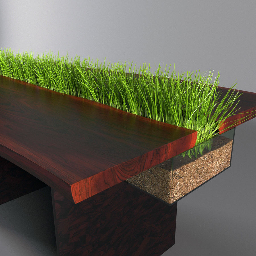 Table avec de l'herbe plantée royalty-free 3d model - Preview no. 2