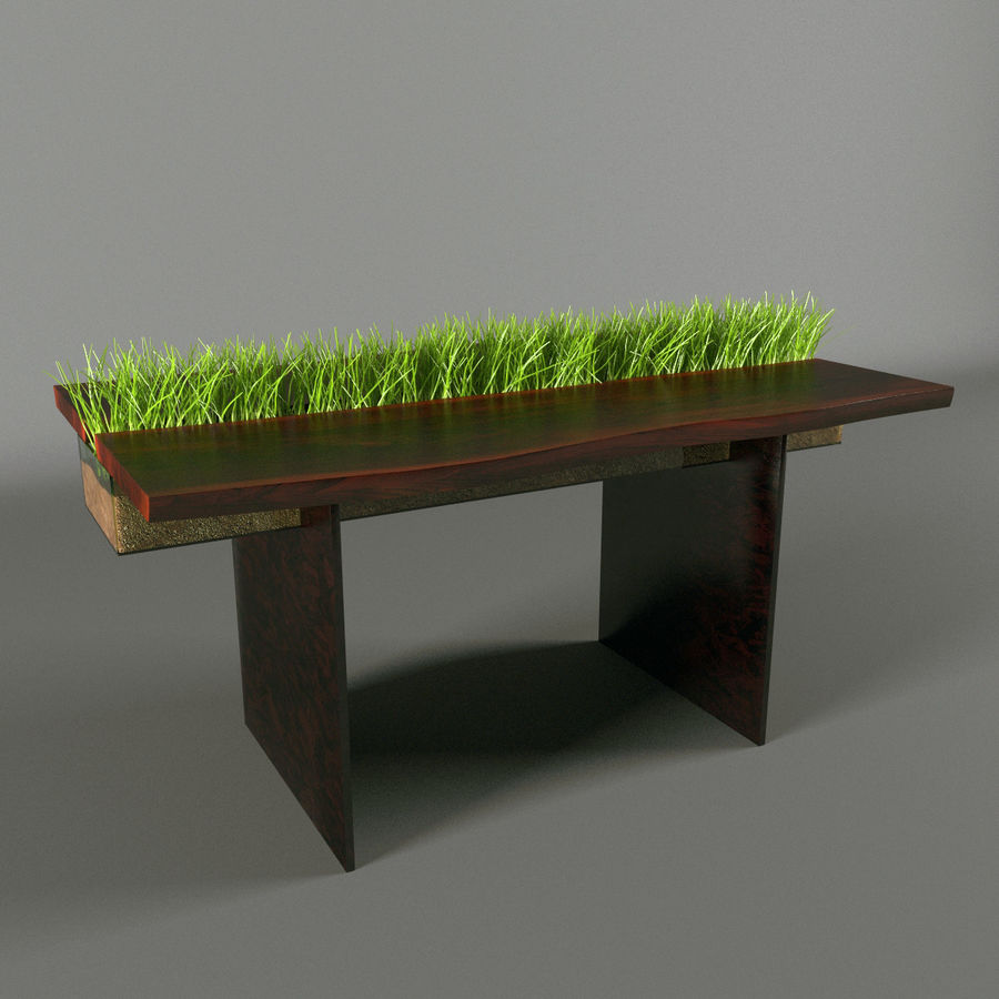 Table avec de l'herbe plantée royalty-free 3d model - Preview no. 1