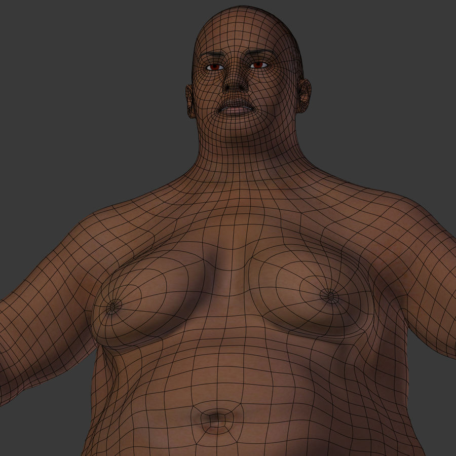 Fat Mid Aged Woman royalty-free 3d model - Preview no. 27