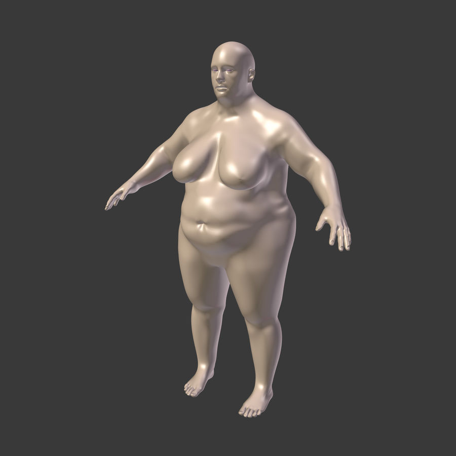 Fat Mid Aged Woman royalty-free 3d model - Preview no. 4