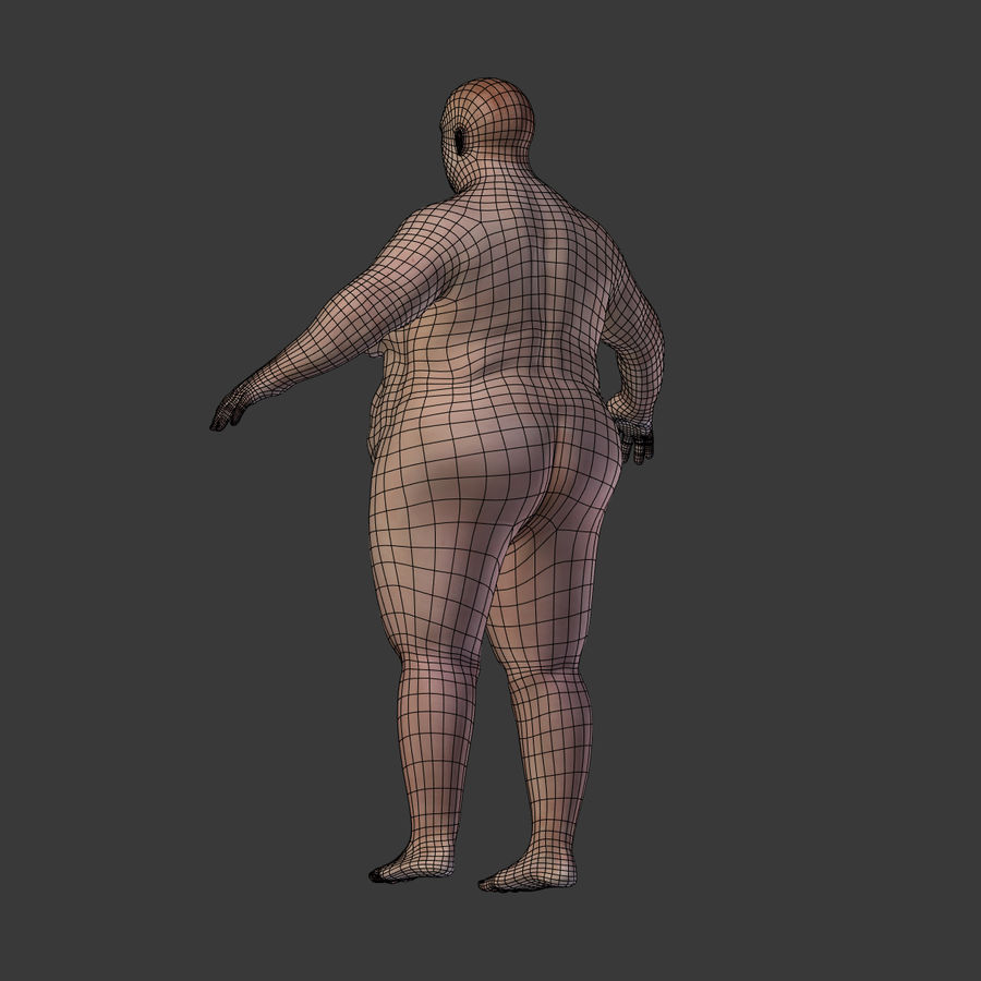 Fat Mid Aged Woman royalty-free 3d model - Preview no. 16