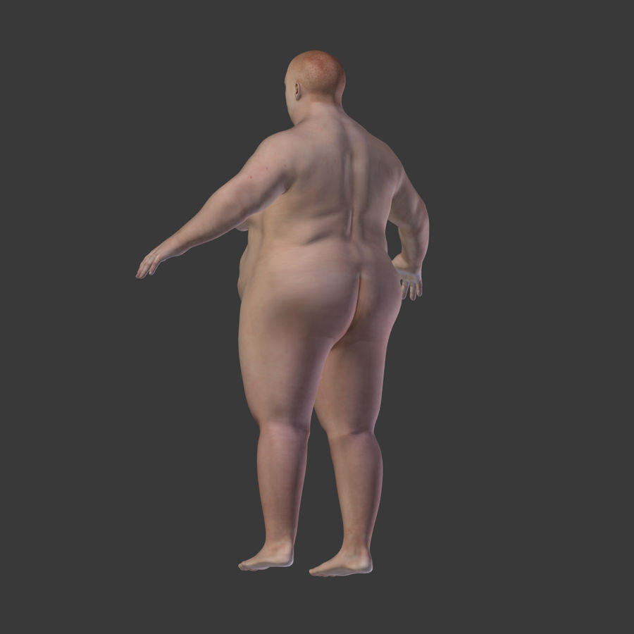 Fat Mid Aged Woman royalty-free 3d model - Preview no. 15