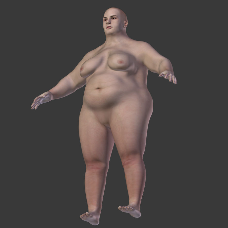 Fat Mid Aged Woman royalty-free 3d model - Preview no. 29