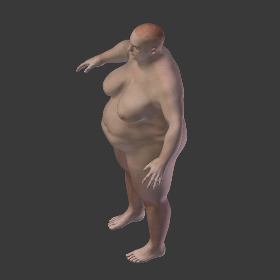 Fat Mid Aged Woman royalty-free 3d model - Preview no. 14