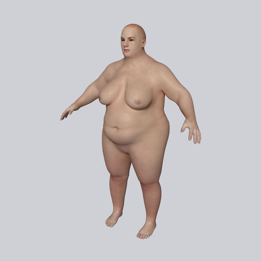 Fat Mid Aged Woman royalty-free 3d model - Preview no. 2